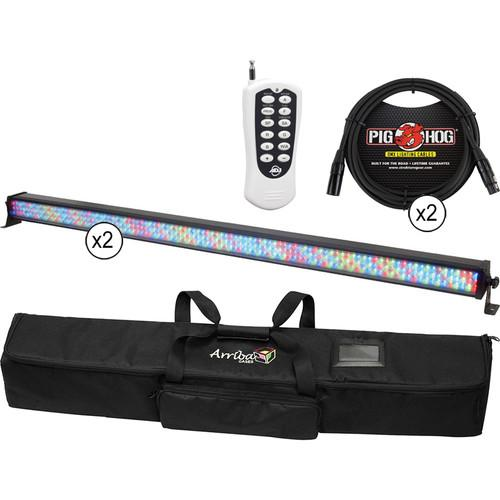 American DJ 2x Mega Bar RGBA Kit with Wireless Remote, Carry Bag, and 2x DMX Cables