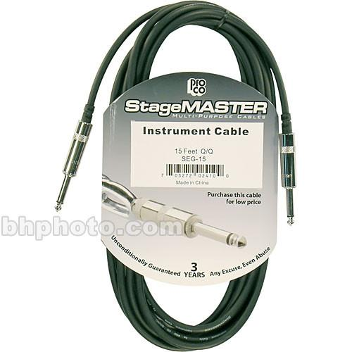 "Pro Co Sound StageMASTER Series 1 4"" Phone Male to 1 4"" Phone Male Instrument Cable - 15"
