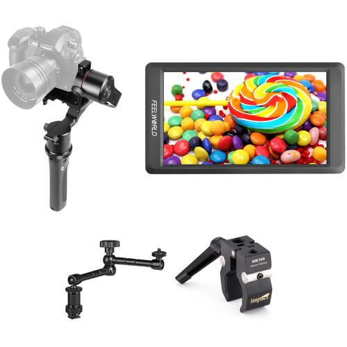 "PFY H2-45 3-Axis Handheld Gimbal Kit with 5.5"" Monitor and Arm"