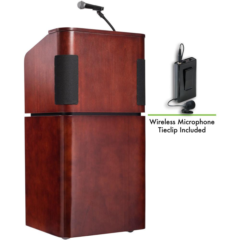 Oklahoma Sound 950 901 Tabletop and Base Combo Sound Lectern with LWM-6 Wireless Lavalier Microphone