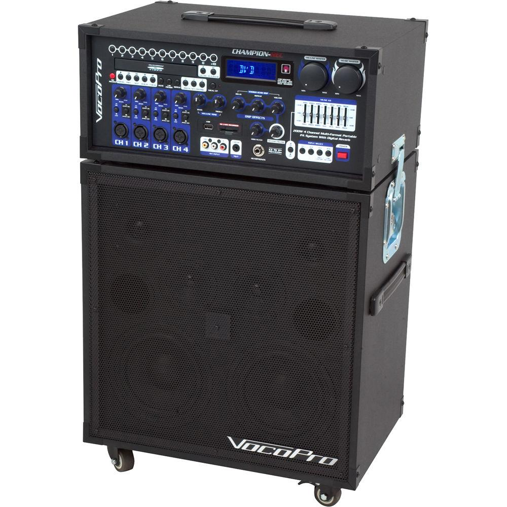 VocoPro CHAMPION-REC 9 200W 4-Channel Multi-Format Portable PA System with Digital Recorder